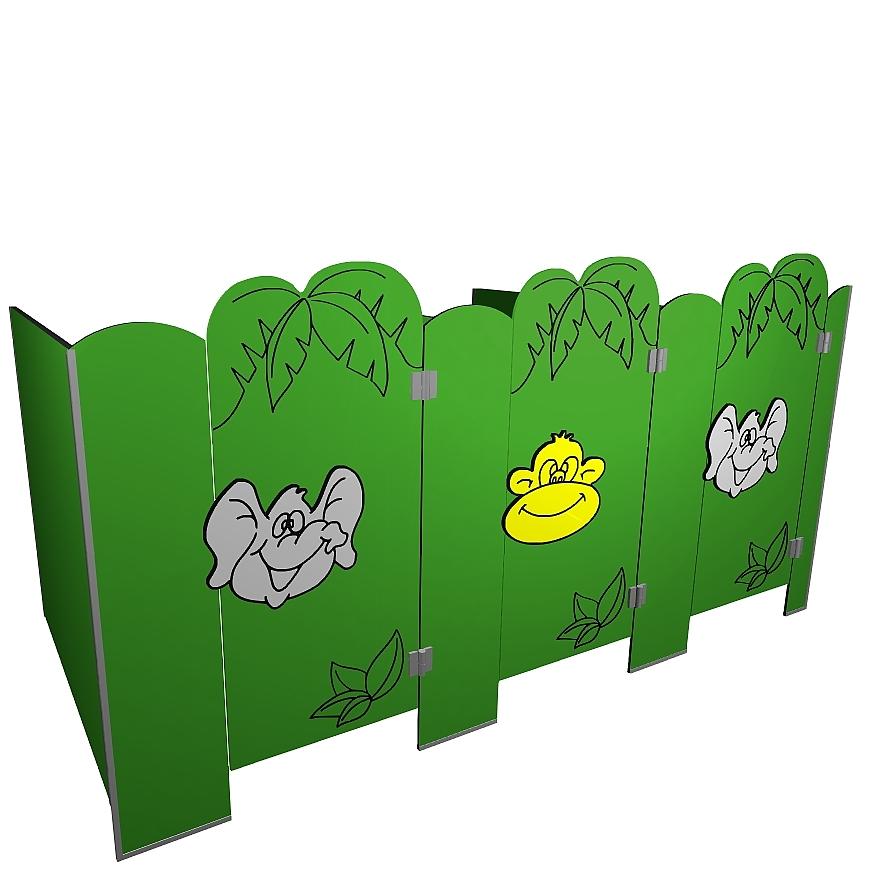 Kabiny sanitarne przedszkolne KIDS JUNGLE V2P b tła